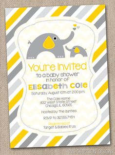 Yellow and Gray Elephant Gender Neutral Printable Baby Shower Invitation