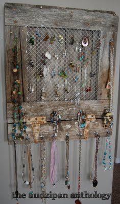 im so making one! rustic doors reused. staple chicken wire and add hoop screws. fun jewelry organizer!
