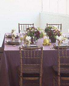 plum chartreuse table setting