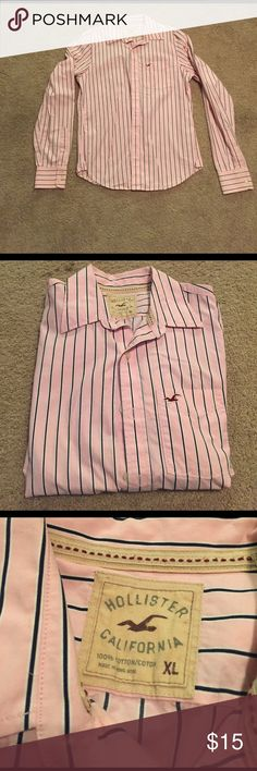 Hollister button down Men's Hollister button down in pink with navy and white stripes. In excellent condition! Abercrombie & Fitch Shirts Casual Button Down Shirts