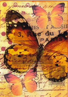 Orange Butterflies - mixed media
