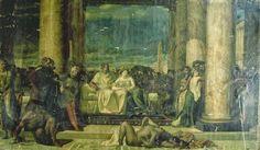 Marco Antonio y Cleopatra, él en manos de ella