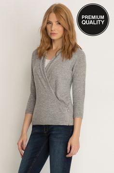 Kopertowy sweter z domieszką kaszmiru