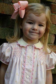 "Bridget Anderson's ""Sweetest Pink"", Soft Chicks on Pink Smocked CC ""Maggie"" Smocking Plates, Smocking Patterns, Dress Patterns, Smocking Tutorial, Coat Patterns, Sewing Patterns, Baby Girl Party Dresses, Little Girl Dresses, Baby Dress"