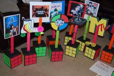80's centerpieces 80s Party Decorations, Party Centerpieces, 80s Birthday Parties, Birthday Party Themes, 40th Birthday, Pec Man, Decade Party, 80s Theme, Skate Party