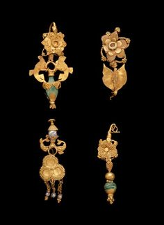 Gold with hand-engraved cut sheet. Gold Earring, Taxila, Panjab, 1st-2nd century A.D