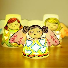 These little paper cup angels are super sweet and simple to make. Give your home a lovely warm and angelic cozy glow at night with this angel craft for kids