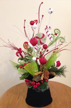 This is beautiful! Snowman Tophat Tabletop Arrangement by 5thRowSouth on Etsy #christmas #5throwsouth