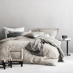 Eikei Washed Cotton Chambray Duvet Cover Solid Color Casual Modern Style Bedding Set Relaxed Soft Feel Natural Wrinkled Look (Queen, Barely Mauve) Neutral Bedding, White Bedding, Modern Bedding, Duvet Sets, Duvet Cover Sets, Master Suite, Pottery Barn, Cute Duvet Covers, Ikea