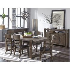 Clean styling with a mission influence makes the Hops collection a natural for any interior.  A lightly distressed surface and aged mid-tone brown finish enhance each piece for an easy going, and casual look. The dining table has a modified trestle base.  One leaf to extend the table to 90 inches is included.