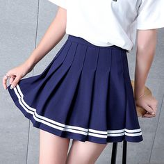 2019 Preppy Style High Waist Chic Striped Stitching Skirt Elastic Waist Pleated Skirt for Women Cute Sweet Girls Dance Skirt Plaid Skirts, Cute Skirts, A Line Skirts, Short Skirts, Stripe Skirt, Pleated Skirt, High Waisted Skirt, Preppy Mode, Preppy Style