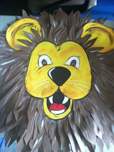 Lion Head Bulletin Board idea - School ~  Cut and shaped construction create 3D effect