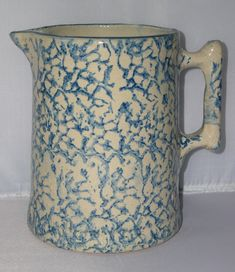 Antique Blue White Spongeware Stoneware Batter pitcher.