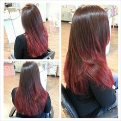 Red ombre hair color by Stephanie Strowbridge