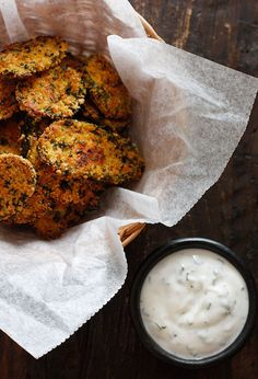 "Oven ""Fried"" Pickles with Skinny Herb Buttermilk Ranch Dip 