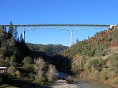 This is the very famous Foresthill Bridge that connects Auburn to the Foresthill Divide.  At the point of being built in 1973 it was the third tallest bridge in the world.  It is currently the tallest bridge in California and still ranks at the top of tallest bridges.