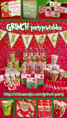 "Grinch party ideas and printables for throwing a ""How the Grinch Stole Christmas"" party. Included invitations banners labels favor bags popcorn boxes water bottle lables cupcake picks and more! School Christmas Party, Grinch Christmas Party, Christmas Party Themes, Office Christmas, Noel Christmas, Xmas Party, Christmas Activities, Family Christmas, Holiday Fun"