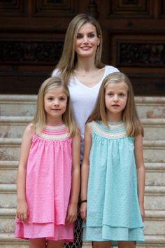 Spanish Queen Letizia (C) and her daughters Princess Leonor (R) and Infanta Sofia (L) at the Marivent Palace on 05.08.2014 in Palma de Mallorca, Spain.