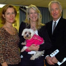 September 19, 2011 -- Special guests Juliet Stevenson (left) and Alan Rickman (right) with Lindsey Wylie and her dog Chi. Picture: Polly Hancock. Acclaimed actors Alan Rickman and Juliet Stevenson were among the guests at a skating gala which raised £5,500 for a charity set up in memory of a Channing student.