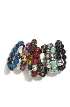 LOVE these stretch bracelets - so cute layered together