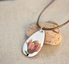 Artisan Enamel Necklace Magnolia Necklace Cloisonne Enamel