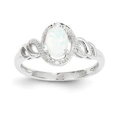 10k White Gold Genuine Australian Opal & Diamond Ring :http://www.stormgems.co.za/product/10k-white-gold-genuine-australian-opal-diamond-ring/