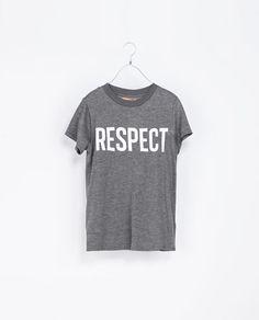 ZARA - TRF - CAMISETA  TEXTO RESPECT