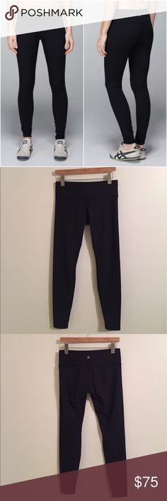 Lululemon wunder under pant  Luxtreme Lululemon wunder under pant  Luxtreme material (cool to the touch material, doesn't get lint/etc stuck to it), black, size 8, gently worn and in great condition with no flaws(meaning no piling/rips/holes/stains/Seam damages/etc) Bundle to save 10% off ❤ lululemon athletica Pants Leggings