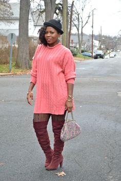 Thrifty Threads: Cable Knits and Over the Knee Boots