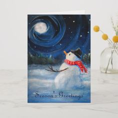 """Easy Christmas Paintings On Canvas Luxury """"snowman Gazes at Night Sky & Moon Folk Painting """" by Winter Scene Paintings, Winter Painting, Easy Paintings, Winter Scenes To Paint, Acrylic Paintings, Snowmen Paintings, Christmas Canvas, Christmas Art, Christmas Paintings On Canvas"""