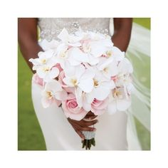Blush Rose and White Orchid Bridal Bouquet ❤ liked on Polyvore featuring flowers and wedding