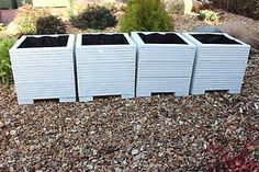 Details about Square Wooden Garden Planter Trough Decking Plant Pot painted Cuprinol White - Modern Cuprinol, Wooden Garden Planters, Yard Waste, Back Gardens, Decking, Plant Care, Natural Texture, Potted Plants, Compost