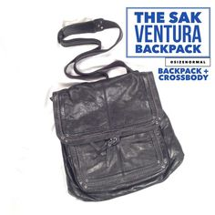 """THE SAK Ventura Backpack + Crossbody Black Bag """"Backpacks just got cooler. The Ventura can be worn crossbody as a messenger or worn as a traditional backpack. Either way it's easy to carry and versatile.""""-The Sak. EUC. Clean lining (pic). Exterior: Black Leather, Interior: Polyester. Antique silver tone hardware. 12.5in L x 3in W x 12in H; Drop up to 21 inches. Zipper Closure and snap on flap, convertible shape. Front zip pocket. Lining features one back wall zip pocket and 2 front wall…"""