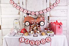Firetruck Birthday Decorations, Firetruck Banner, Fireman theme HAPPY BIRTHDAY Banner, Fire Engine Birthday Party Decorations