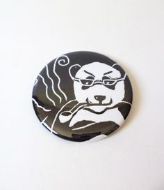 Pipe Smoking Panda Pinback Button OR Magnet by MAGICbyAnnaPanda, $3.00