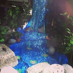 Waterfall at Silver Springs Baptist Church in Mt Juliet Tennessee for VBS 2015 Journey off the Map Tiki Party, Luau Party, Cheer Party, Safari Theme, Jungle Theme, Enchanted Forest Book, Off The Map, Vacation Bible School, Camping Theme
