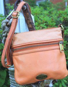FOSSIL Orange Leather Cross Body Explorer Handbag #FOSSIL #CrossBody