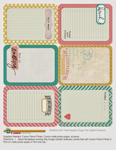 Heidi Swapp journal cards--My Craft Channel: Free Printables