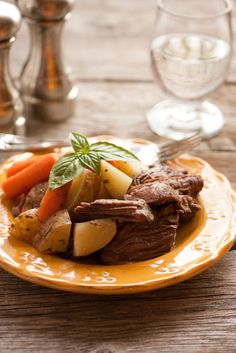 "Slow Cooker Pot Roast with Potatoes (A One Pot Hassle Free Meal) - Cooking Classy  Ingredients: 2 1/2 lbs chuck roast 1 1/4 cups beef broth 1 Tbsp + 1 tsp Worcestershire sauce 1 3/4 tsp dried Italian seasoning 2 tsp onion powder 1 tsp garlic powder Salt and freshly ground black pepper, to taste 4 medium Russet potatoes, scrubbed and rinsed then diced into chunks about 3/4"" - 1"" 12 oz. baby carrots"