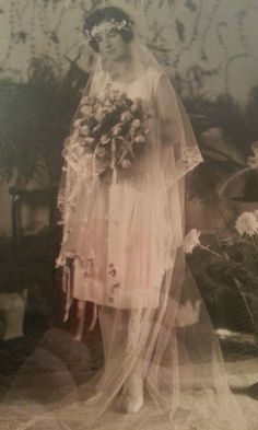 Grandmother in her flapper wedding dress. Approx 1923. - Imgur