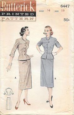 Butterick 6447 UNCUT 1950s Two Piece Dress with Suit Styling