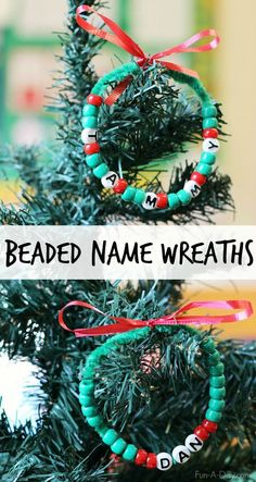 Beaded name wreath craft - kids can make these as gifts while practicing early learning skills