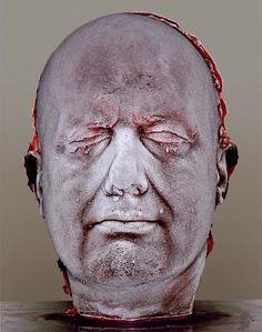 Marc Quinn — Blood Head, self-portrait with his own frozen blood. Marc Quinn (born 1964) is a British artist & one of a loose group known as the Young British Artists. He is known for Alison Lapper Pregnant (a sculpture of which has been installed on the fourth plinth at Trafalgar Square) and Garden (2000). Quinn has used blood, ice and feces to make sculptures; his work sometimes refers to scientific development.