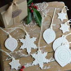 Vintage Lace porcelain Christmas ornaments by KIm Wallace Ceramics