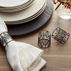Handcrafted napkin ring transforms iron wire into a delicate bracelet of leaf shapes, finished with a warm, antique bronze finish. Welcome To My House, Home Design Decor, Home Decor, Iron Wire, Gold Wood, Wood Crates, Leaf Shapes, Crate And Barrel, Napkin Rings