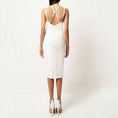 White embellished strap bodycon dress
