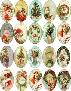 Christmas 20 vintage pictures oval stickers scrapbooking crafts embellishments  #Handmade