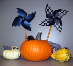 Drop in and make a spider or bat pinwheel pencil topper!
