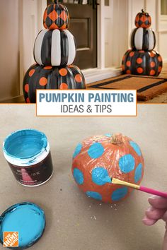 Check out this easy no-carving pumpkin decorating idea: we'll show you how to paint your pumpkins with scary or fun patterns for this year's Halloween. Halloween Rocks, Halloween Food For Party, Outdoor Halloween, Easy Halloween, Holidays Halloween, Halloween Pumpkins, Halloween Crafts, Holiday Crafts, Fun Crafts