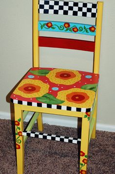 Fun Painted chair. Upcycled recycled furniture.
